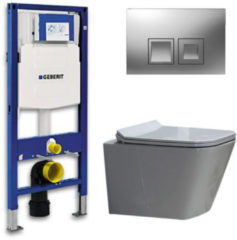Douche Concurrent Geberit UP 100 Toiletset - Inbouw WC Hangtoilet Wandcloset - Flatline Alexandria Delta 50 Mat Chroom