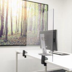 Transparante SMIT VISUAL Scheidingsscherm plexiglas 58x120 cm voor bureau/tafel, inclusief bureauklemmen enkel bureau