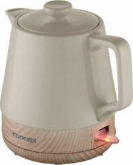Beige Concept RK0061 1,0 liter keramische waterkoker, koffiekleur plus houtstructuur