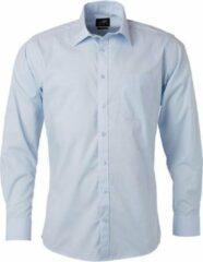 James & Nicholson James and Nicholson Heren Longsleeve Poplin Shirt (Lichtblauw)