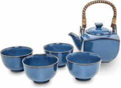 Blauwe Living with tea Traditionele Thee set - 5 delig - Luxe Thee Set - Japanse Thee Set - Sea Blue - Porselein Theepot met Mokken - 4 Porselein kopjes - Met RVS theezeefje/ theefilter