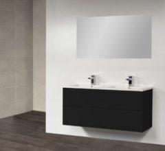 Witte Sanilux Badkamermeubel New Future 120 cm (4 lades, 2 uitsparingen) Zwart