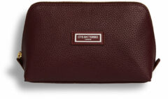 Bordeauxrode Otis Batterbee The Beauty Makeup Bag L - Toilettas - Vegan leer & gerecycelde voering - Burgundy