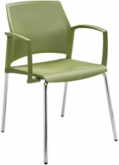 Beige Kantoormeubelen Plus Holly stoel met chromen design onderstel