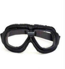 CRG retro, zwart leren motorbril - helder glas