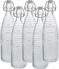 Zeller 5x Glazen flessen transparant strepen met beugeldop 1000 ml - Keukenbenodigdheden - Woondecoratie - Tafel dekken - Koude dranken serveren/bewaren - Olie/azijn flessen - Decoratie flessen