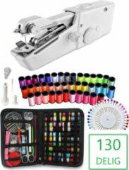 Witte Handy Switch Handy Stitch - PREMIUM Handnaaimachine met 130 Delige Starterskit -- Mini naaimachine -- Draagbare Reis Hand Naaimachine - Incl. 43 spoelen met garen - Draadloos