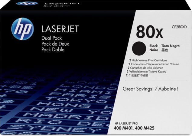 Afbeelding van Zwarte HP 80X - CF280XD - Tonercartridge / Zwart / Hoge Capaciteit / 2 Pack