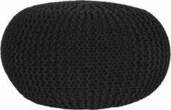 LABEL51 Poef 'Knitted', 70 x 35cm, kleur Zwart