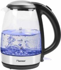 Transparante Bestron AWK780G - Waterkoker digitaal 2200 W 1.7 L - Glas - Blauw
