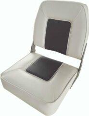 FES Opklapbare bootstoel klapstoel wit/blauw met lage rugleuning