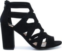 Sacha - Dames - Zwarte opengewerkte sandalen met hak - Maat 38