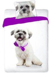 Paarse Faro Wit Boomer Maltezer hondje - eenpersoons dekbedovertrek Best Friends 140x200 cm - 100% katoen