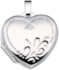 Zilveren Classics&More medaillon - zilver - hart - sierlijke bewerking - 19 x 18 mm