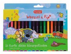 Royal Talens Woezel & Pip set 16 korte dikke kleurpotloden met slijper
