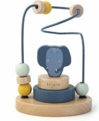 Blauwe Trixie houten kralenframe   Mrs. Elephant   Beads Maze   Olifant   Speelgoed