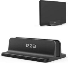 R2B Verstelbare verticale laptop en tablet standaard - Laptop en tablet houder - Zwart - Verstelbare laptop en tablet houder bureau - Ruimtebesparende laptop standaard geschikt voor iPad/MacBook Air/MacBook/Surface Pro etc.