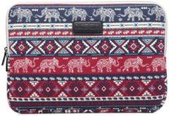 Donkerblauwe Lisen Laptop Sleeve met olifanten tot 14 inch Donkerblauw/Donkerrood