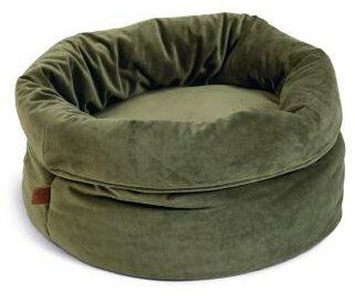 Afbeelding van Designed by lotte fluco kattenmand - fluweel - groen - 45x45x35 cm