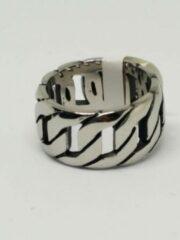 Zilveren RH-Jewelry. Stalen heren ring. Platte schakel maat 20