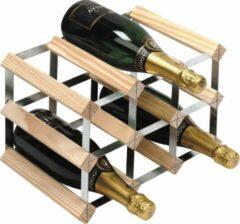 RTA Wineracks - Wijnrek 9 flessen - Verzinkt Staal - Licht Grenen - 3x3