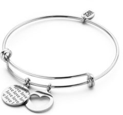 CO88 Collection Inspirational 8CB 90261 Stalen Armband met Hangers - Love Tekst en Open Hart - One-size - Zilverkleurig