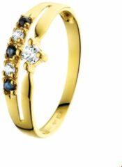 Blauwe Huiscollectie Geelgouden Ring saffier en zirkonia 17.00 mm (53)