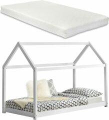 En.casa Kinderbed houten bed huisbed 200x90 met matras - wit