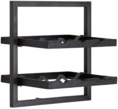 Zwarte D-Bodhi Shelfmate D-Bodhi - shelfmate - winemate - type b- wijnrek - voor 6 flessen - burned black wood - black smoked iron frame (btbf)