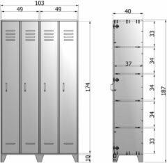 Grijze WOOOD Stijn 2-deurs lockerkast 187x103x40 cm grenen staalgrijs gelakt Staalgrijs