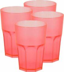 Bellatio Design 4x stuks kunststof drinkbekers 430 ml rood - herbruikbaar - Kunststof drinkbekers