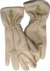 Creme witte AIM Fleece handschoenen met vioolsleutel, gebroken wit Maat S/M