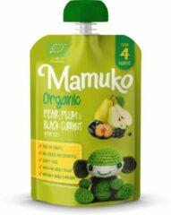 Mamuko biologische peer, pruim en zwarte bessen puree 4+ mnd