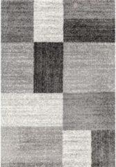 Antraciet-grijze Impression Rugs Festival Supersoft Geblokt Vloerkleed Grijs Hoogpolig - 200x290 CM