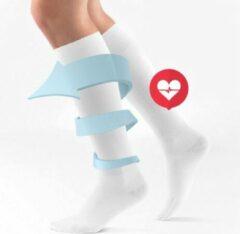 AA Commerce Duopack Compressiekousen / Steunkousen - Elastische Hardloop / Sport / Vliegtuig Compressie Sokken - Running Travel Sock - Reissokken / Reis Kousen - Heren/Dames 2 Paar - Maat 36-40 - Wit