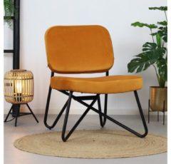 Bronx71 Moderne fauteuil Julia Velvet Okergeel