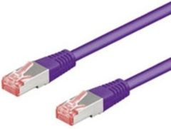 Goobay 93542 RJ45 Netwerk Aansluitkabel CAT 6 S/FTP 30.00 m Violet Vlambestendig, Snagless