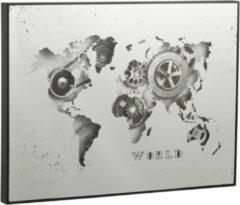 J-Line - Klok - Wereldkaart - Zilver - Metaal - 60 cm x 80 cm