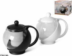 Gerim Zwarte theepot van glas met thee filter/infuser 0,75 liter - Theepotten/theekannen - Theepot met theeinfuser