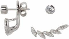 Classics&More Lovenotes oorbellen - earjackets - zilver - gerodineerd - zirkonia - waaier