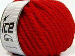 Ice yarns Wol breien met breinaalden maat 10 – 12 mm. dikte – rode breiwol dik kopen pakket van 3 bollen garen 100 gram per bol 100% wol – dikke breigaren van een fijne kwaliteit