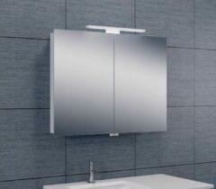 Douche Concurrent Spiegelkast Larissa 80x60x14cm Aluminium LED Verlichting Stopcontact Binnen en Buiten Spiegel Glazen Planken