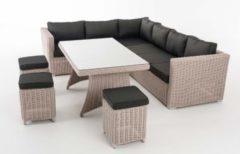 CLP Polyrattan Essgruppe SORANO Komplett-Set: 1 Eckbank, 3 Hocker, 3er Sofa, 1 Tisch In verschiedenen Farben erhältlich