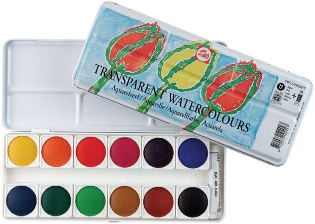 Afbeelding van Royal Talens Water Colour set 12 kleuren napjes aquarel aquarelverf met mengwit tube transparante waterverf