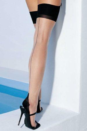 Afbeelding van Huidskleurige Leg Avenue Tweekleurige Kousen - Huidkleur / Zwart QS 46-50