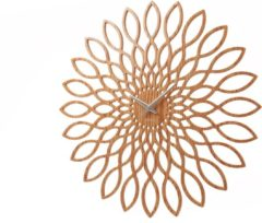 Karlsson Wandklokken Wall Clock Sunflower Wood Finish Bruin