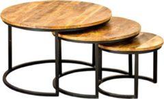 Bruine AnLi-Style Set van 3 salontafels - Mangohout - Rond ø70 x 45cm