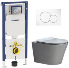 Douche Concurrent Geberit UP720 Toiletset - Inbouw WC Hangtoilet Wandcloset Rimfree - Saturna Flatline Sigma-01 Wit
