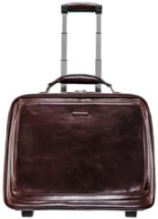 Blue Square 2-Rollen Business Trolley Leder 46 cm Laptopfach Piquadro mahagonibraun