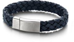 Blauwe Frank 1967 7FB-0133 - Leren gevlochten heren armband - met staal element - one-size - donkerblauw / zilverkleurig